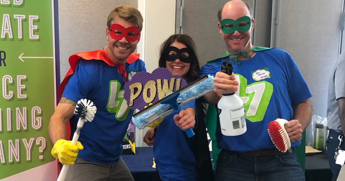 Steven Tomlinson, Angie Russell and Dave Hollister dressed up as cleaning superheroes for an IREM Georgia costume party