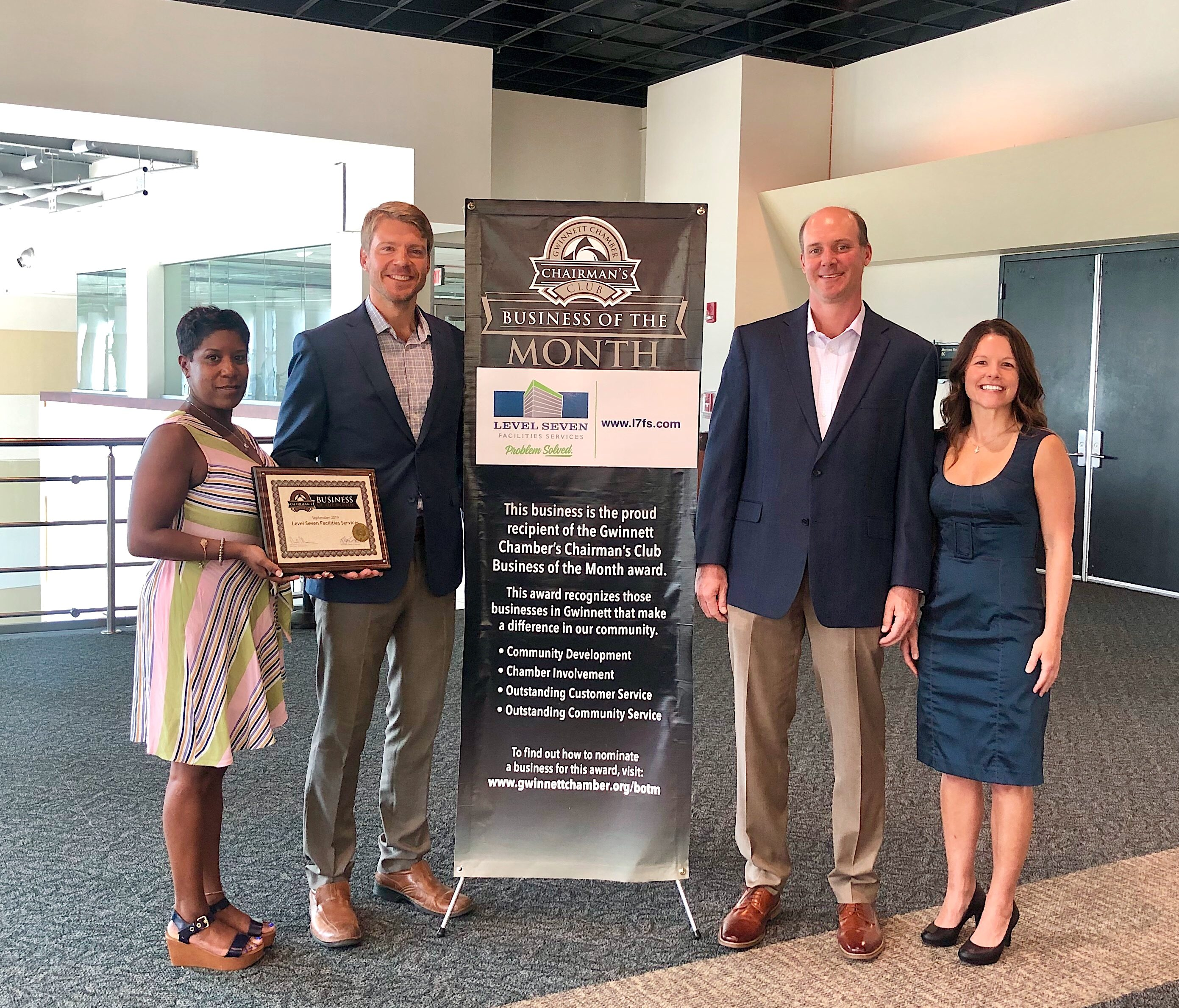 Members of our senior staff receiving the Gwinnett Chamber's Chairman's Club Business of the Month award